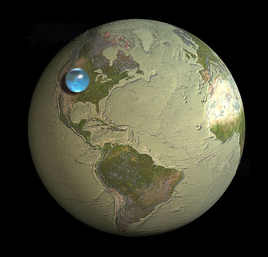 Picture of Earth showing if all Earth's water (liquid, ice, freshwater, saline) was put into a sphere