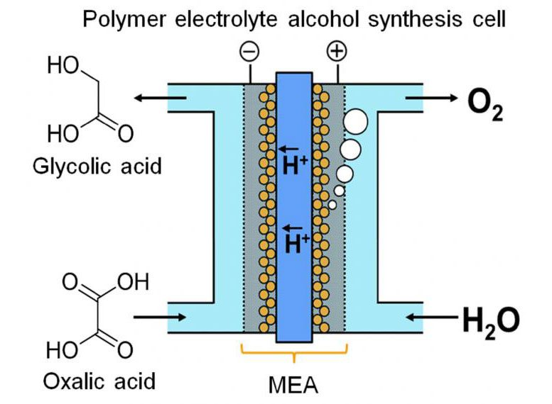 Polymer Electrolyte Alcohol Electrosynthesis Cell