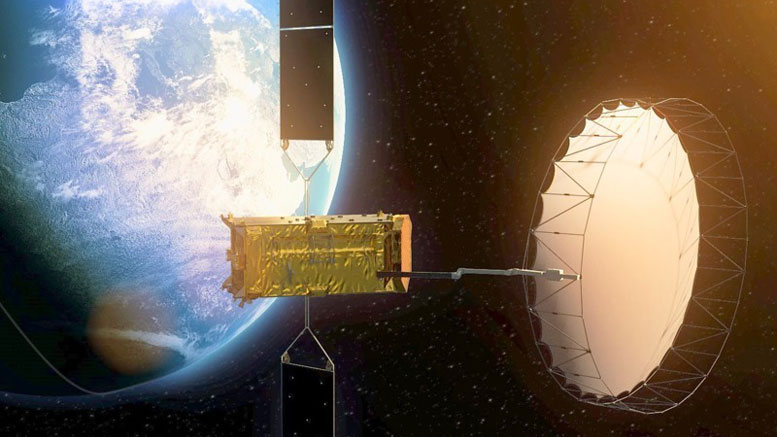 Quantum Communication with a Satellite