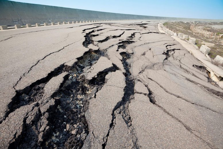 Road Cracked From Earthquake