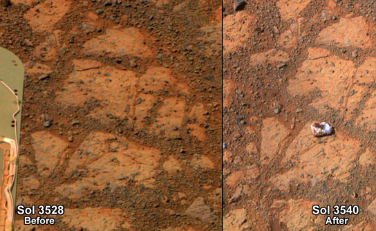 Rock Appears in Front of the Opportunity Rover