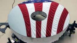 Roman Space Telescope Primary Mirror Reflects American Flag