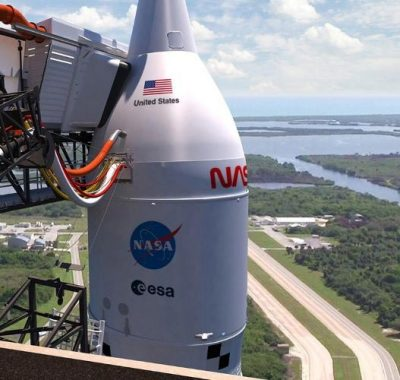 SLS Rocket and Orion Spacecraft on Mobile Launcher