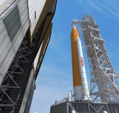 SLS Rocket and Orion Spacecraft on Mobile Launcher for Artemis I.