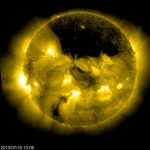 SOHO Views A Gigantic Coronal Hole Hovering Over the Suns North Pole