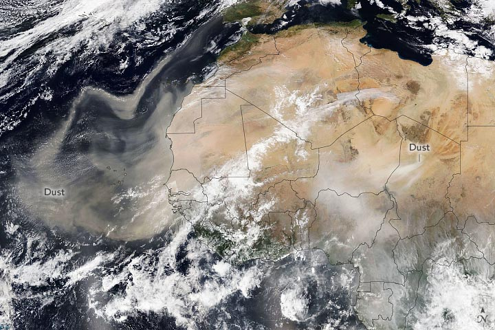 Saharan Dust February 2021 Annotated