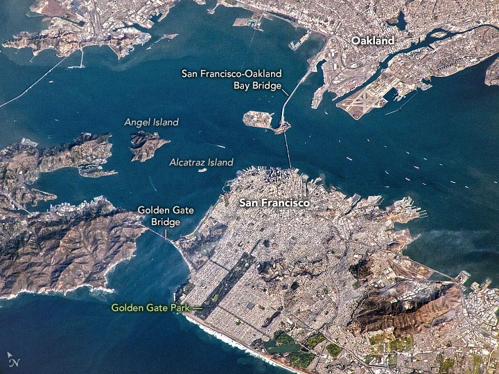 San Francisco Bay From ISS Annotated