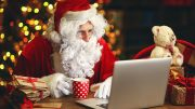 Santa Claus Reading Laptop