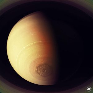 Saturn's Polar Storm by Roseann Arabia