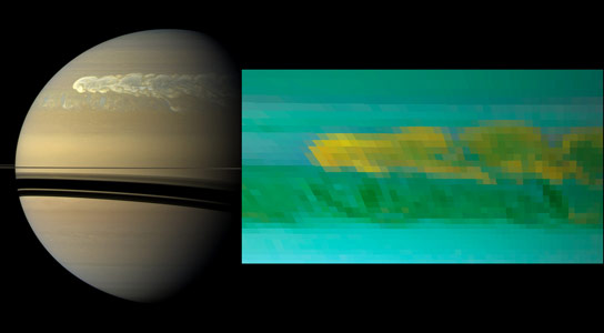 Saturn Storm Churns Up Water Ice from Great Depths