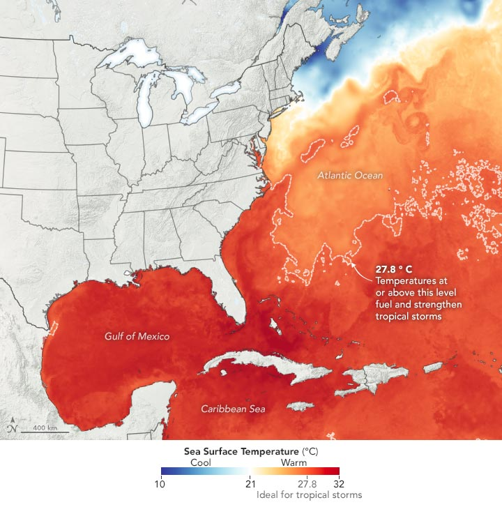 Sea Surface Temperature July 2020 Annotated