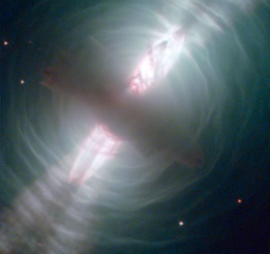 Searchlight Beams from a Preplanetary Nebula