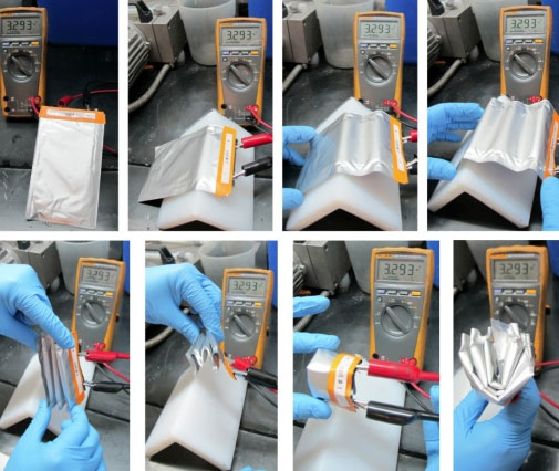 Unlike conventional, solid lithium-ion batteries, the new semisolid cells are flexible enough to be bent and folded multiple times without affecting their performance, as shown by the constant voltage readings in this test.