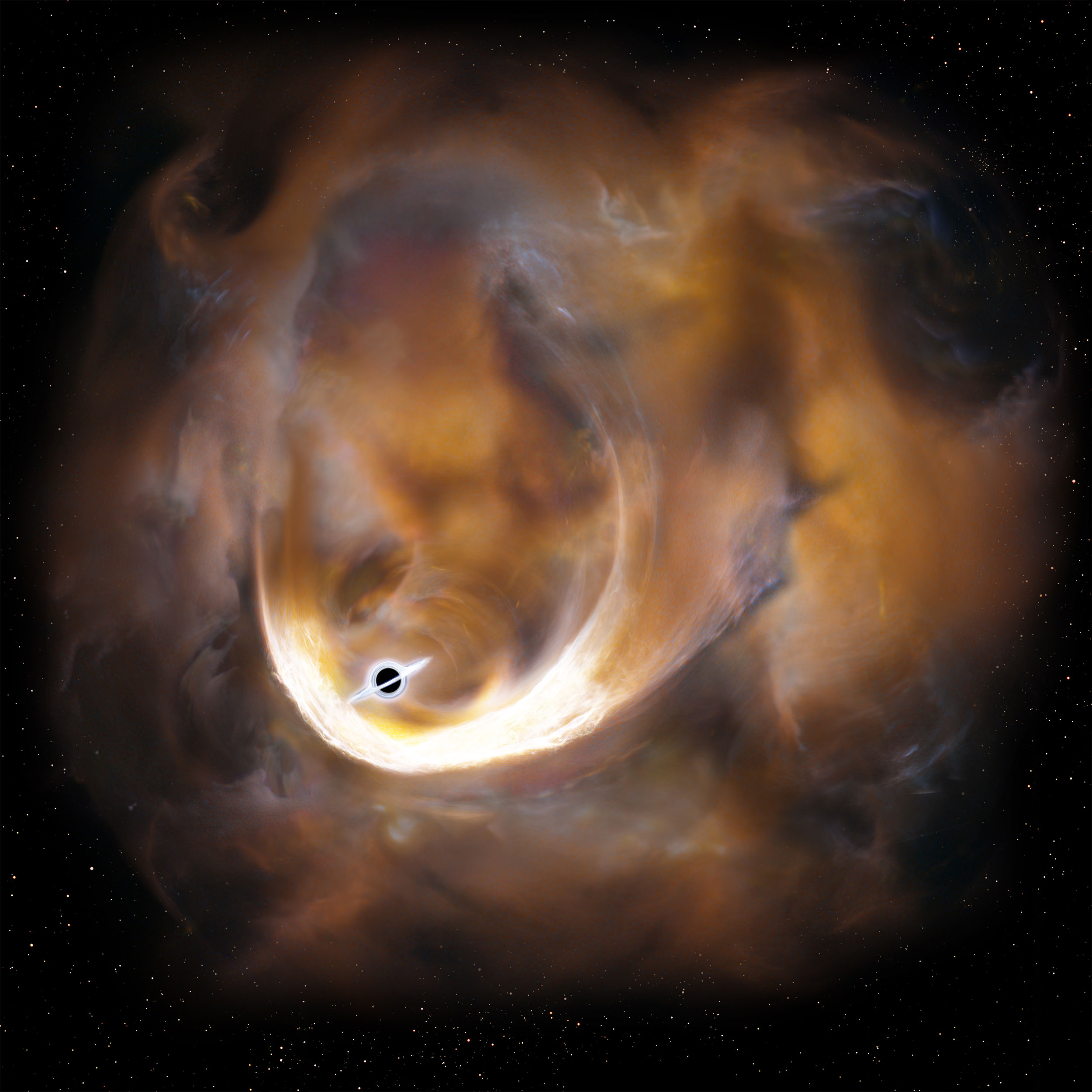 Black Hole With Rings Around It