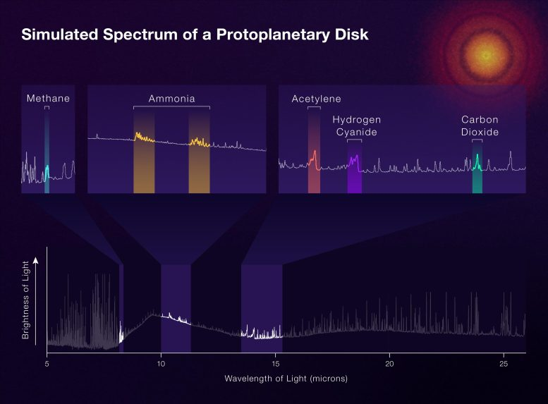 Simulated Spectrum of a Protoplanetary Disk