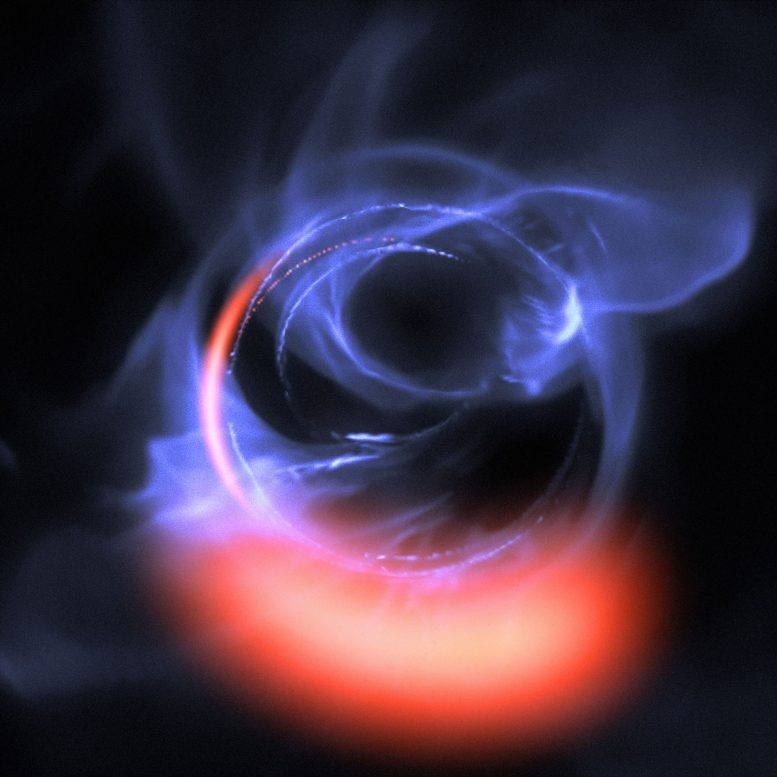 Simulation of Material Orbiting close to a Black Hole