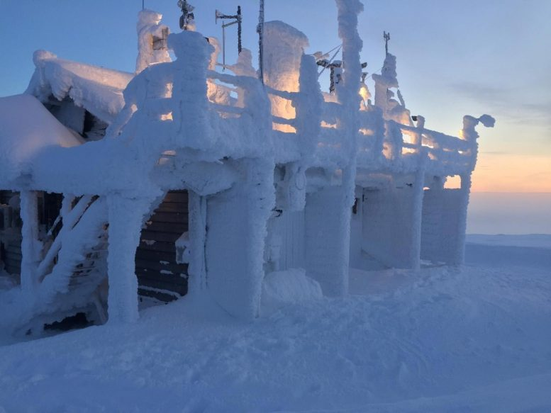 Snow Covered Weather Station in Finland