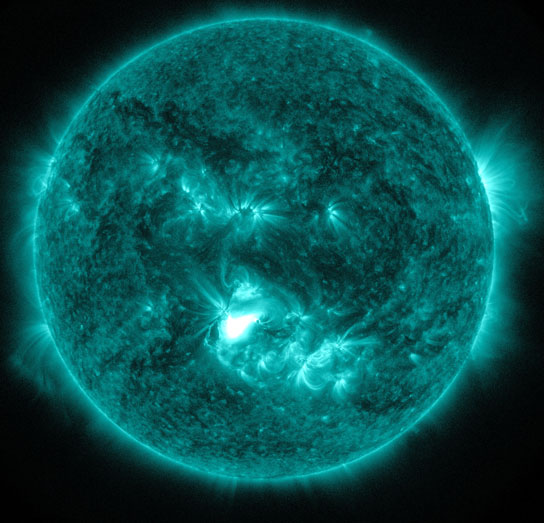 Solar Dynamics Observatory captured this image of an M1.2 class flare on June 13, 2012