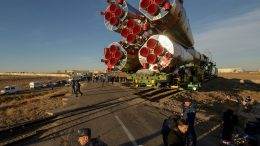 Soyuz Rolls to the Pad for Launch to the Space Station