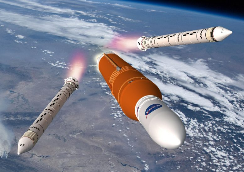 Space Launch System Leaves Earth