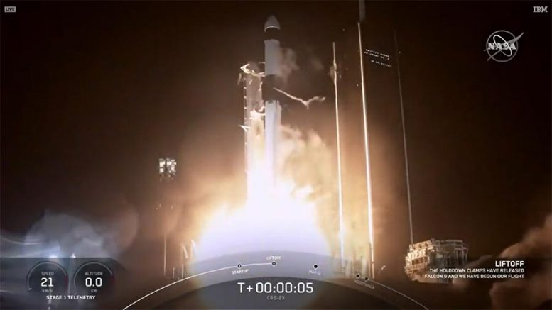 SpaceX Falcon 9 Rocket Launches the Cargo Dragon Spacecraft