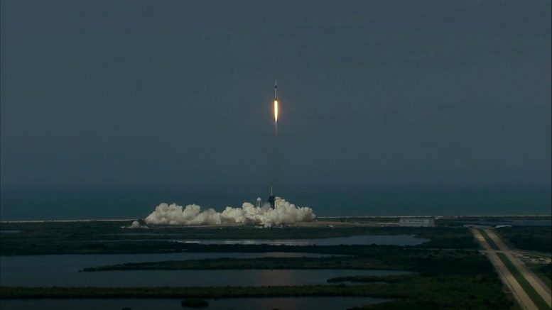 SpaceX Falcon 9 Rocket With Crew Dragon Spacecraft Lifts Off