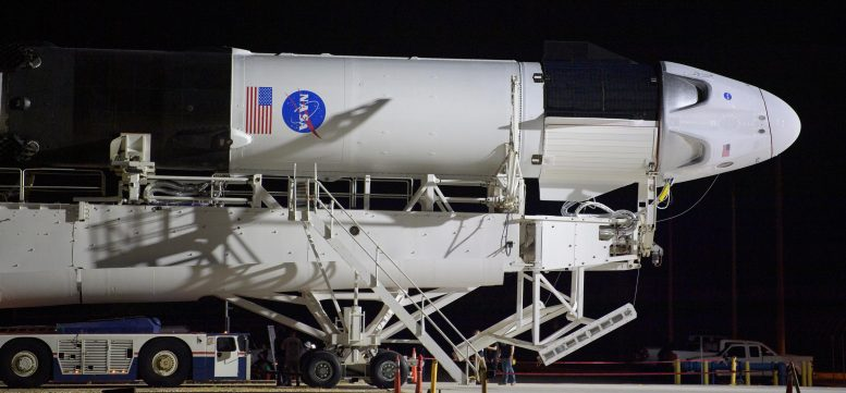 SpaceX Falcon 9 Rocket with Crew Dragon Spacecraft Transport