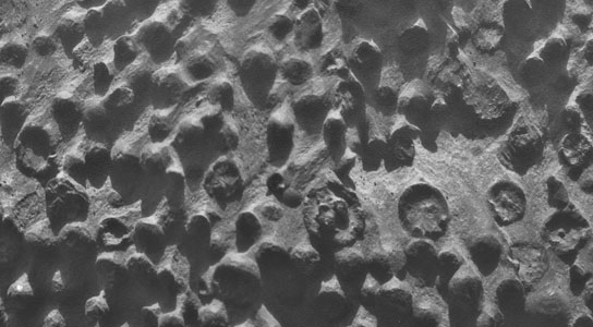 Spherical objects Opportunity reached last week differ in several ways from iron-rich spherules nicknamed blueberries