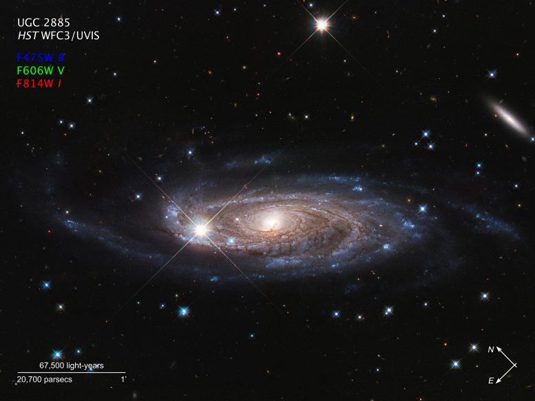 Spiral Galaxy UGC 2885 Annotated