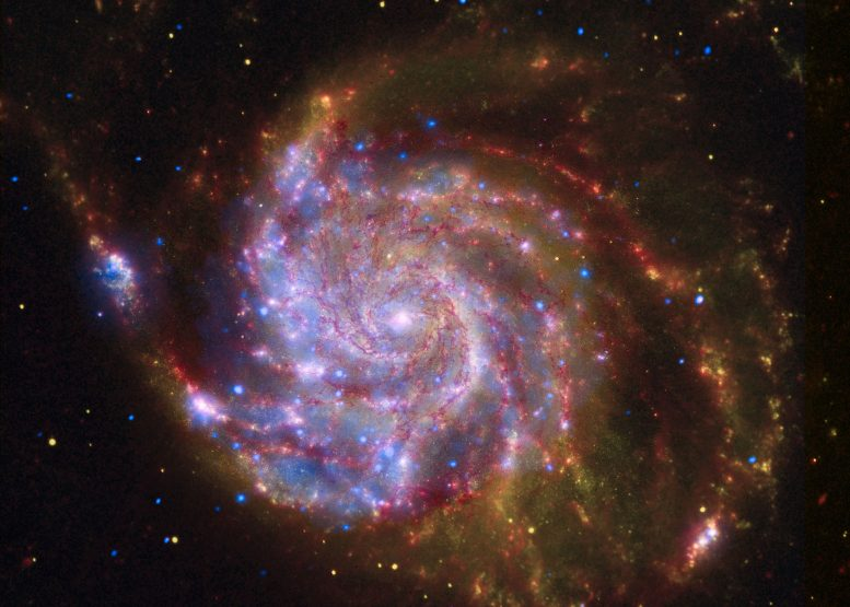 Spitzer-Hubble-Chandra Image of M101
