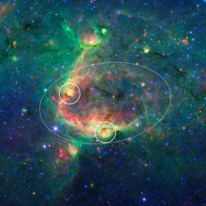 Spitzer Image of the Hierarchical Bubble Structure