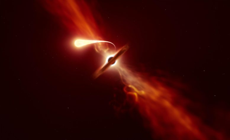 Star Being Tidally Disrupted by a Supermassive Black Hole