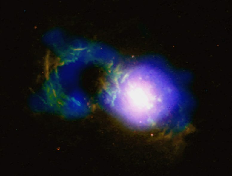 Storm Rages in Cosmic Teacup Galaxy