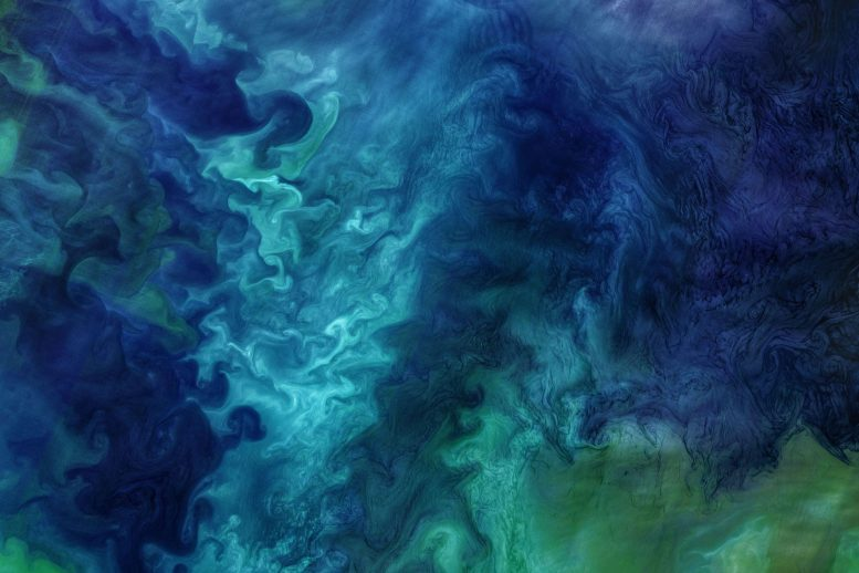 Striking Patterns of Blue and Green in the Chukchi Sea