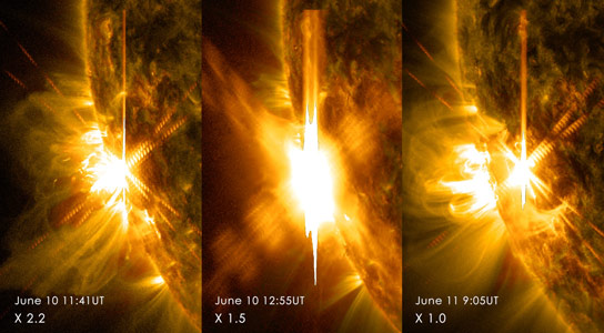 NASA's Solar Dynamics Observatory Sees Three Solar Flares