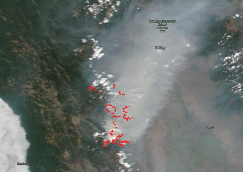 Suomi NPP Satellite August Complex Wildfire