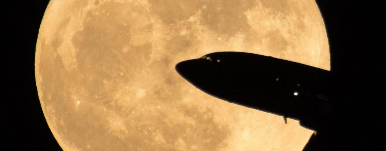 Supermoon and Jet Airplane