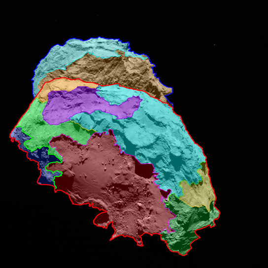 Surface Map of Comet 67P Churyumov Gerasimenko