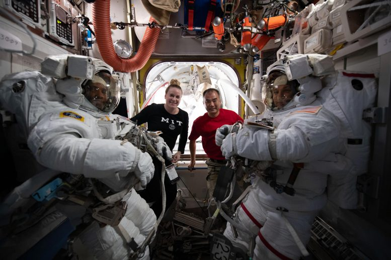 Team Portrait During Spacewalk Preparations
