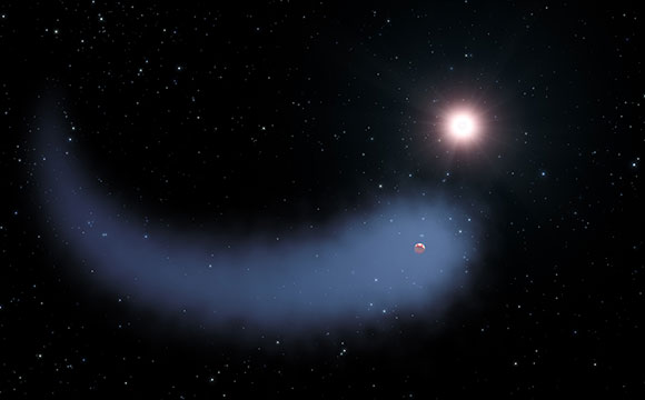 "This artist's concept shows ""The Behemoth,"" an enormous comet-like cloud of hydrogen bleeding off of a warm, Neptune-sized planet just 30 light-years from Earth. Also depicted is the parent star, which is a faint red dwarf named GJ 436. The hydrogen is evaporating from the planet due to extreme radiation from the star. A phenomenon this large has never before been seen around any exoplanet."