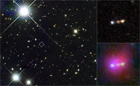 The Merger of Three Young Galaxies