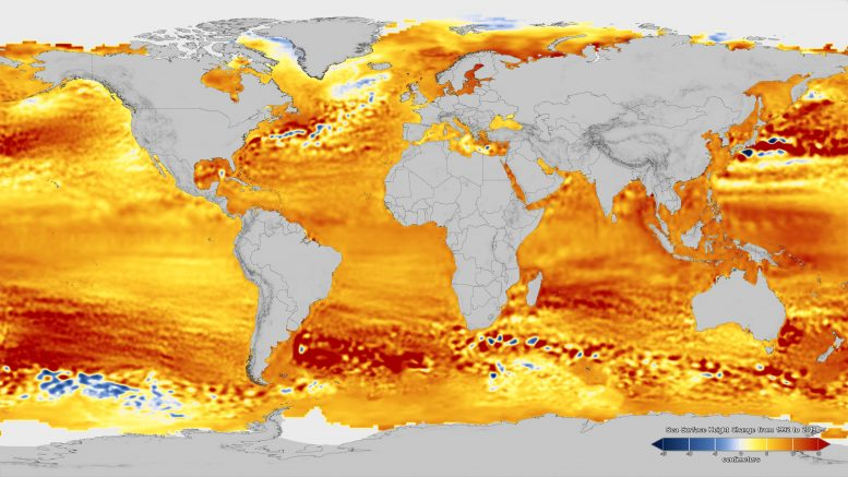 Total sea level change between 1992 and 2019
