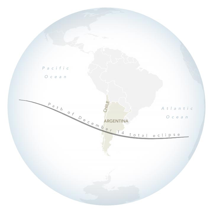 Total Solar Eclipse Path 2020 Annotated