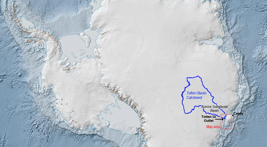 Totten Glacier Catchment is New Threat To Ocean Levels