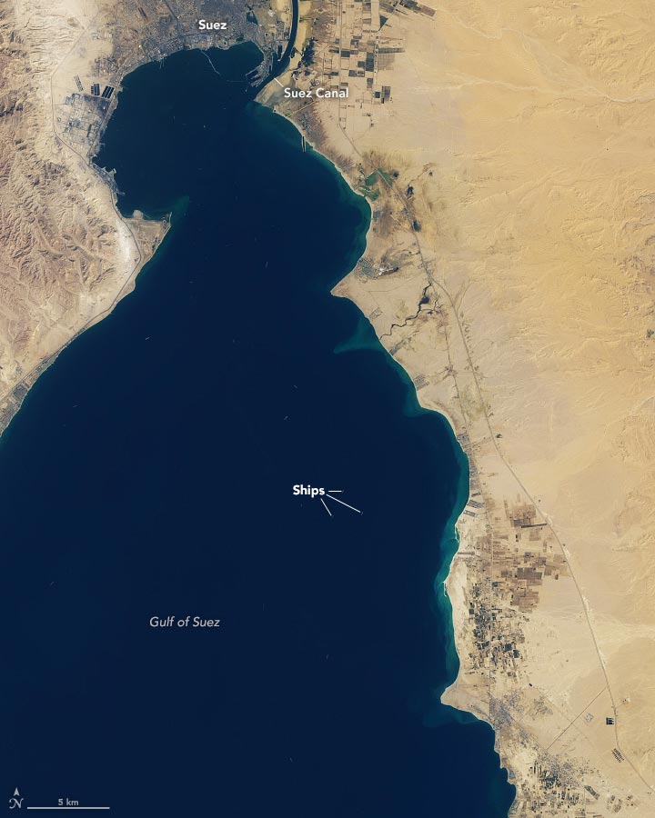 Traffic Jam Suez Canal March 11 2021 Annotated