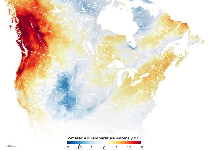 US Air Temperature Anomaly June 2021 Annotated
