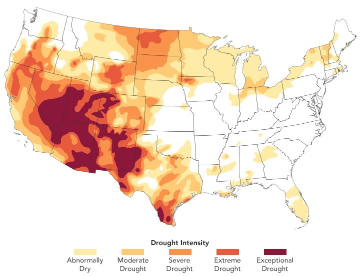 US Drought Conditions March 2021 Annotated