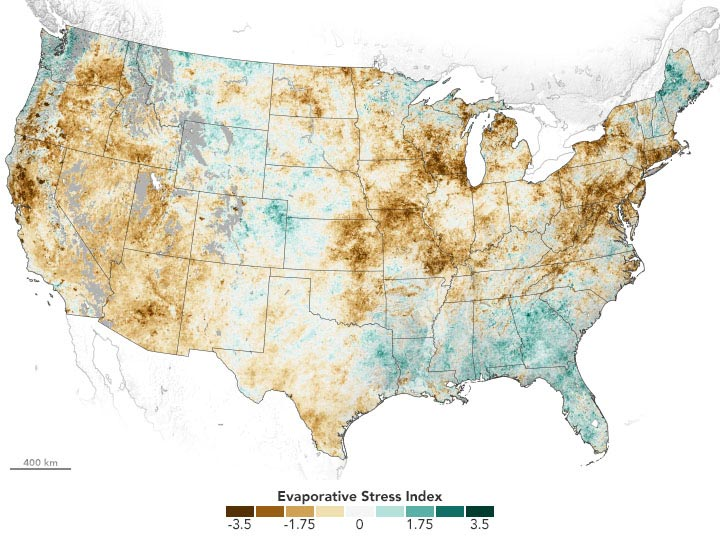 US Evaporative Stress Index May 2021 Annotated