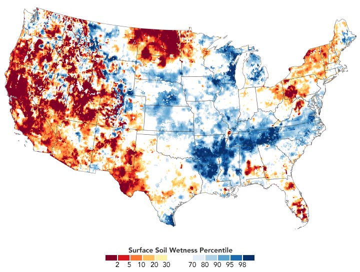US Surface Soil Wetness March 2021 Annotated