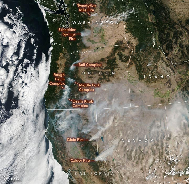 US West Fires August 2021 Annotated